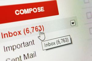 Screenshot of a Gmail inbox with 6,763 messages