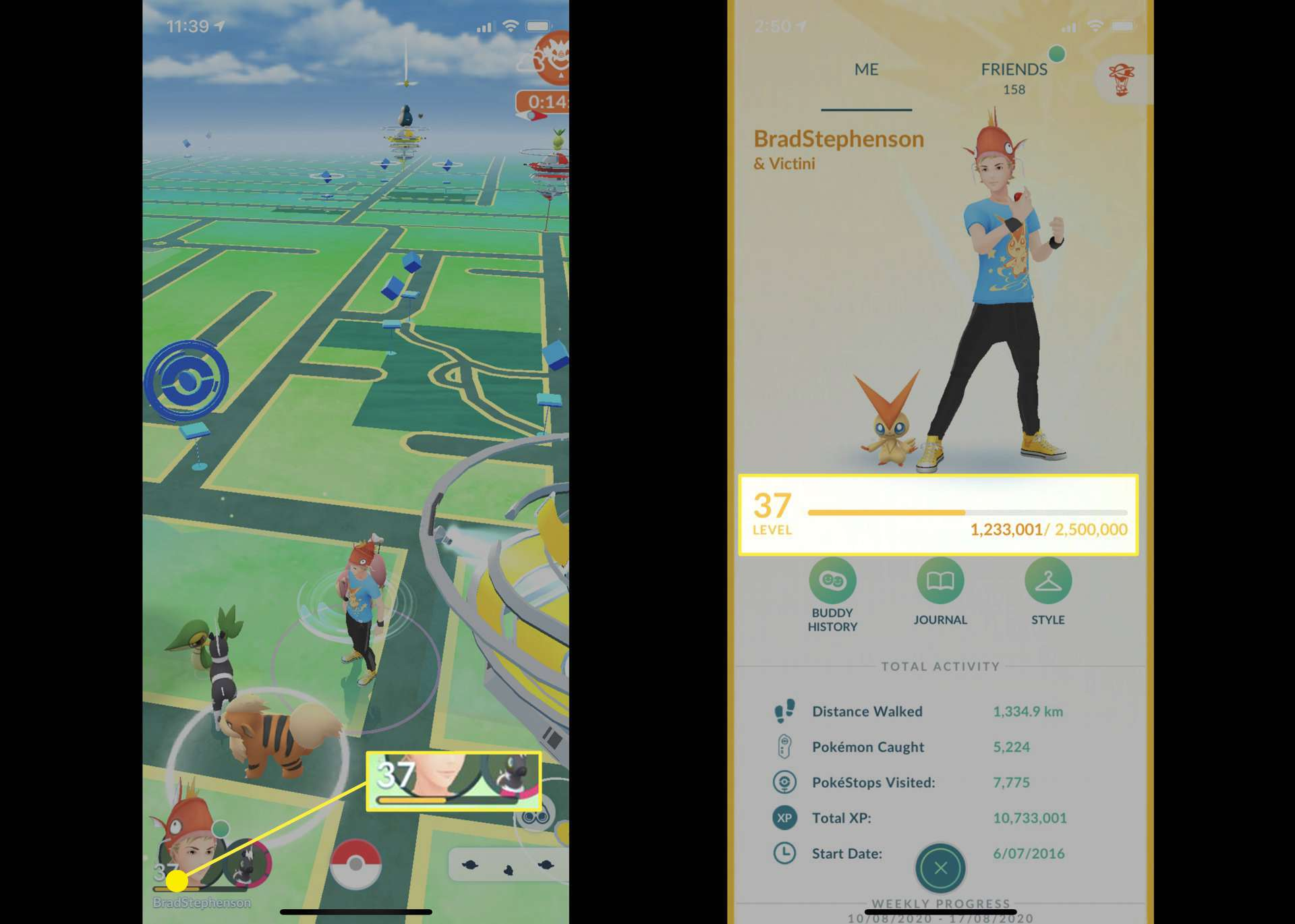 Screenshot of Pokemon GO video game on iPhone.