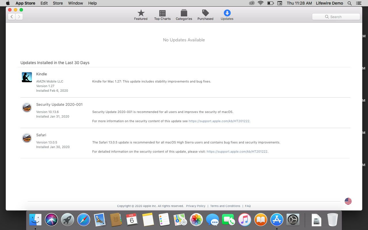 Installed updates in the App Store.