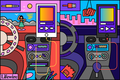 Illustration showing a smartphone using the USB and Aux ports