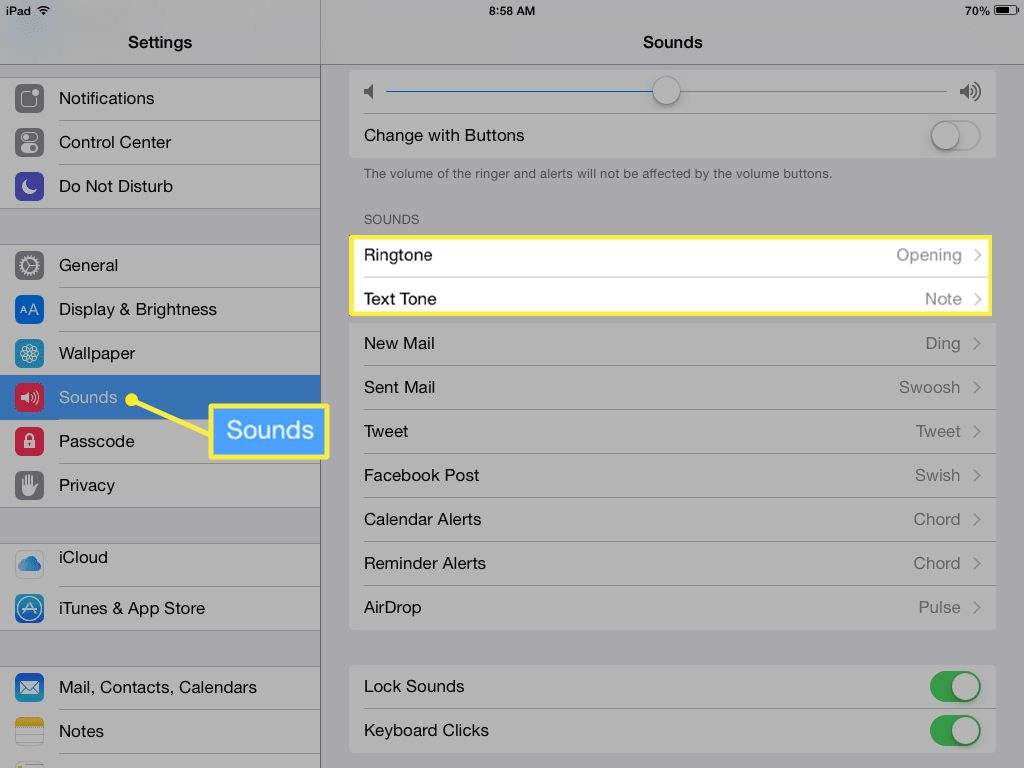 iPad sounds settings