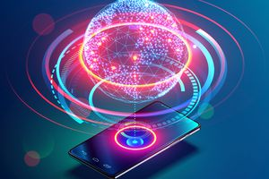 Digital rendering of a smartphone with cellular network data showing above it.