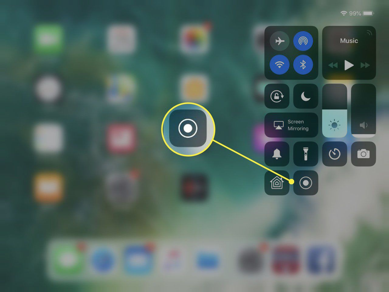iPad Control Center with the Screen Recording button added.
