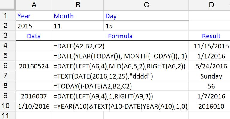 entering dates with the date function in google spreadsheets