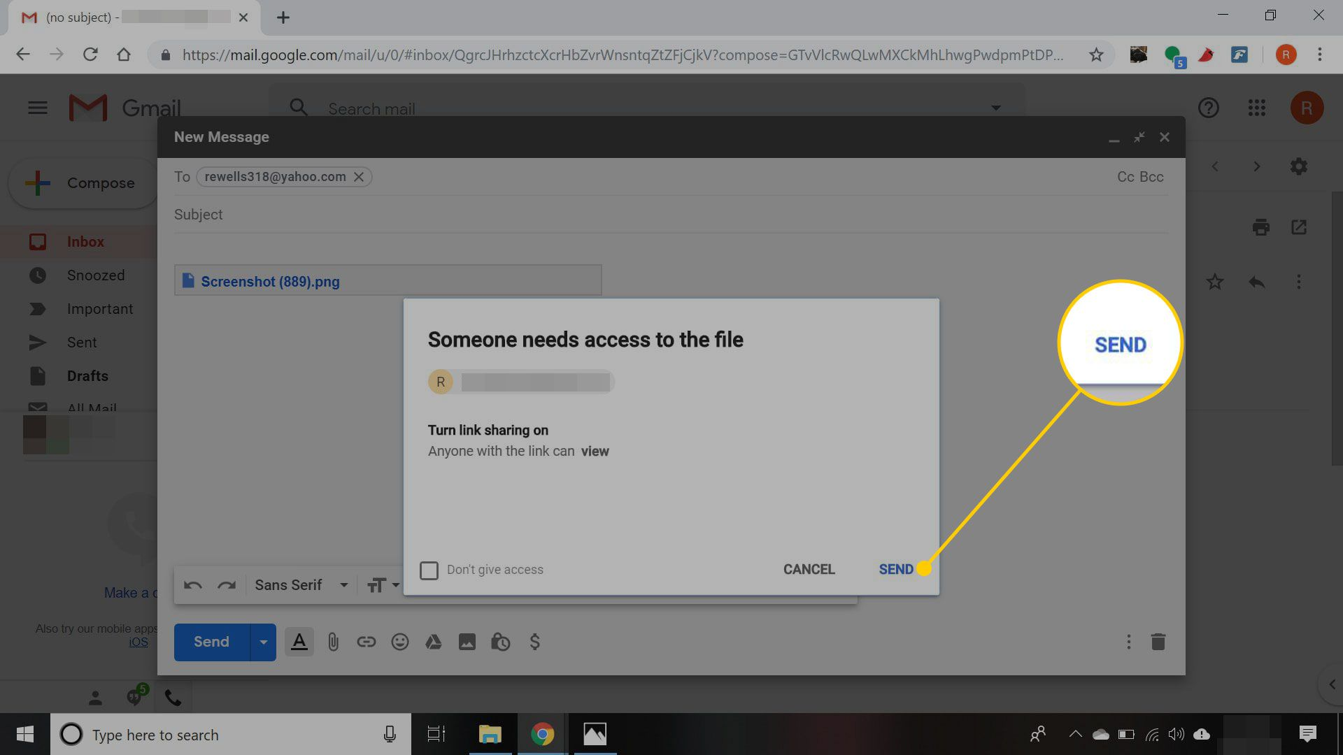 Permission message in Gmail with the Send button highlighted