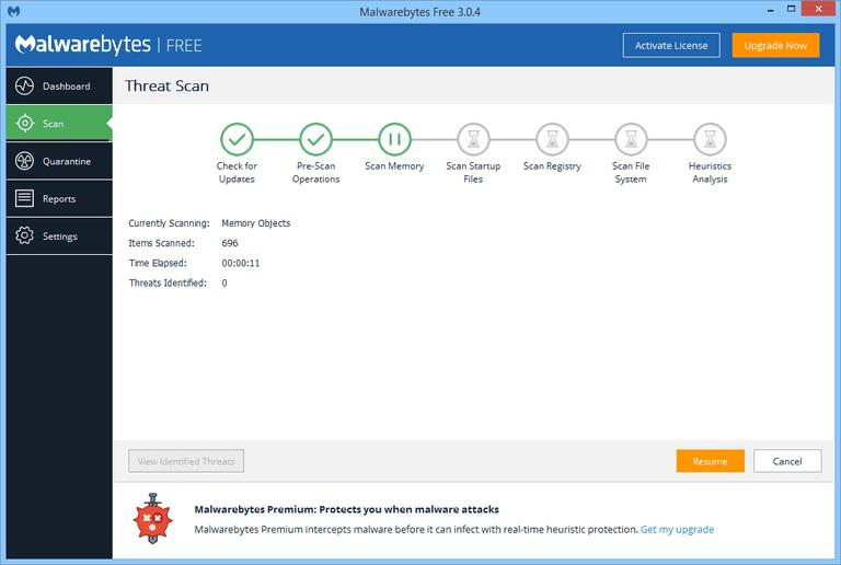 Screenshot of Malwarebytes in Windows 8