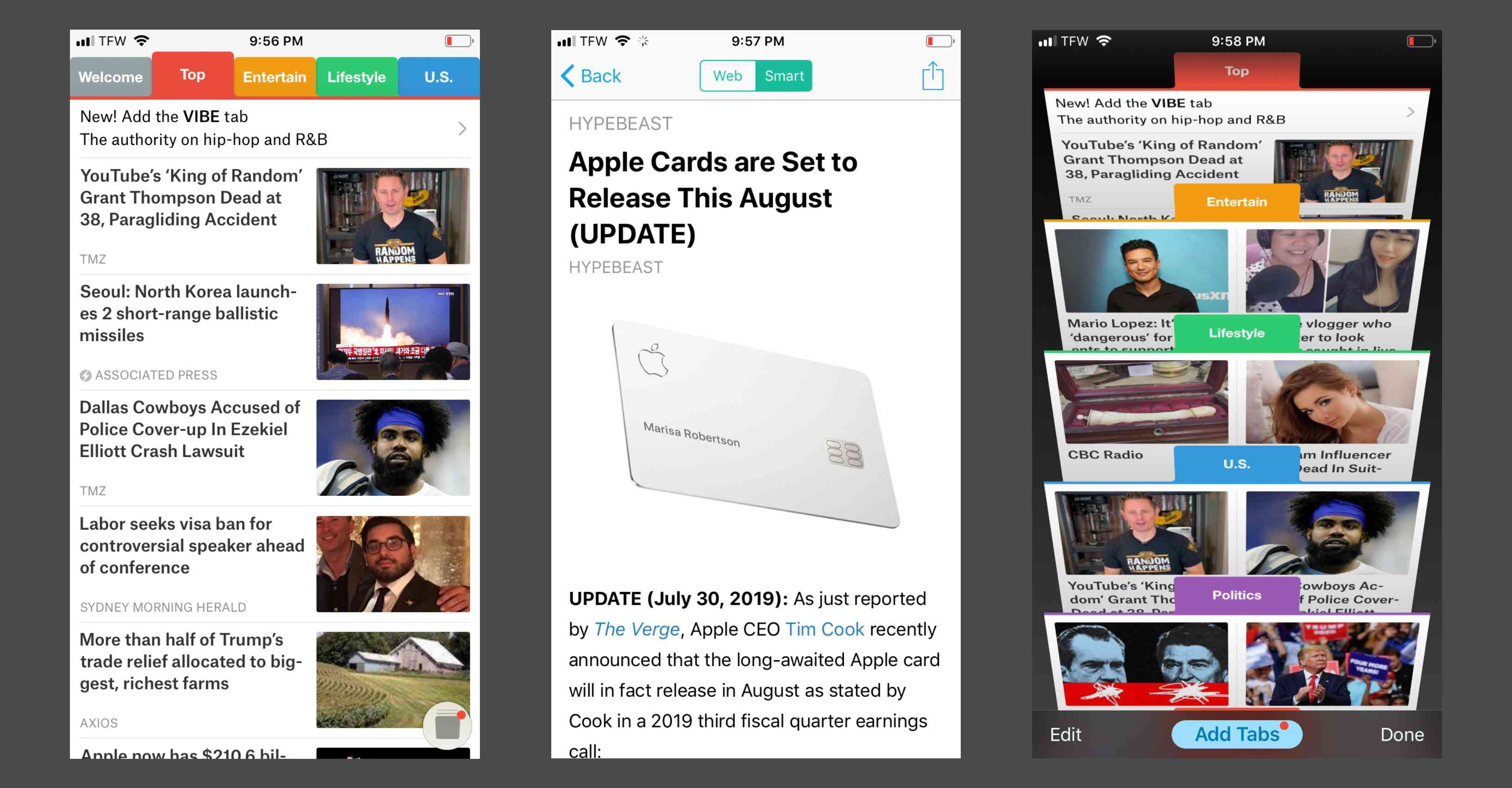 Viewing breaking news and making tabs in the SmartNews app