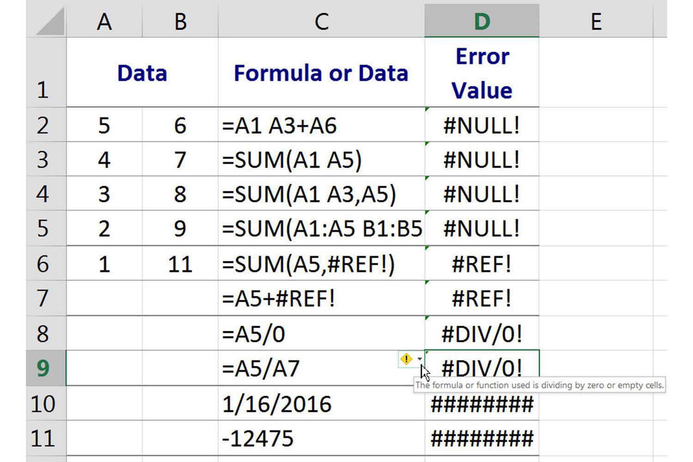 NULL error in Excel