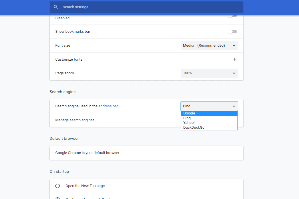 Default search engine option in Chrome