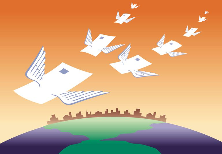 Illustration of mail messages with wings flying around the world
