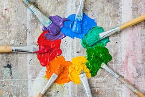 Colorwheel made from paint and brushes