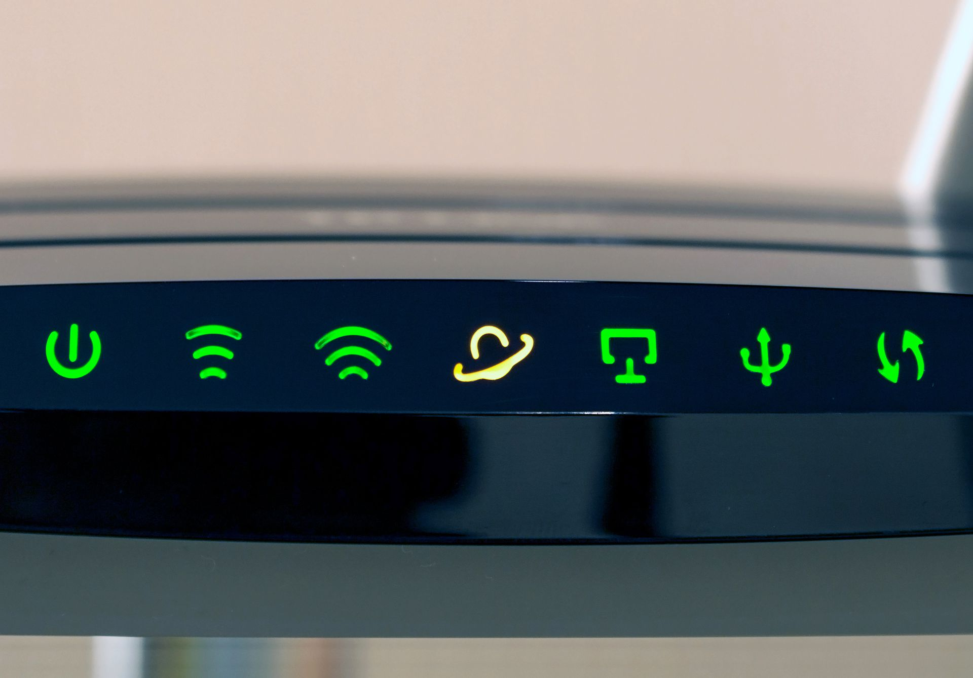Modem and router symbols and lights.