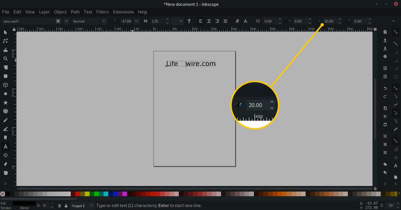 Horizontal kernng tool to 20.00 in Inkscape