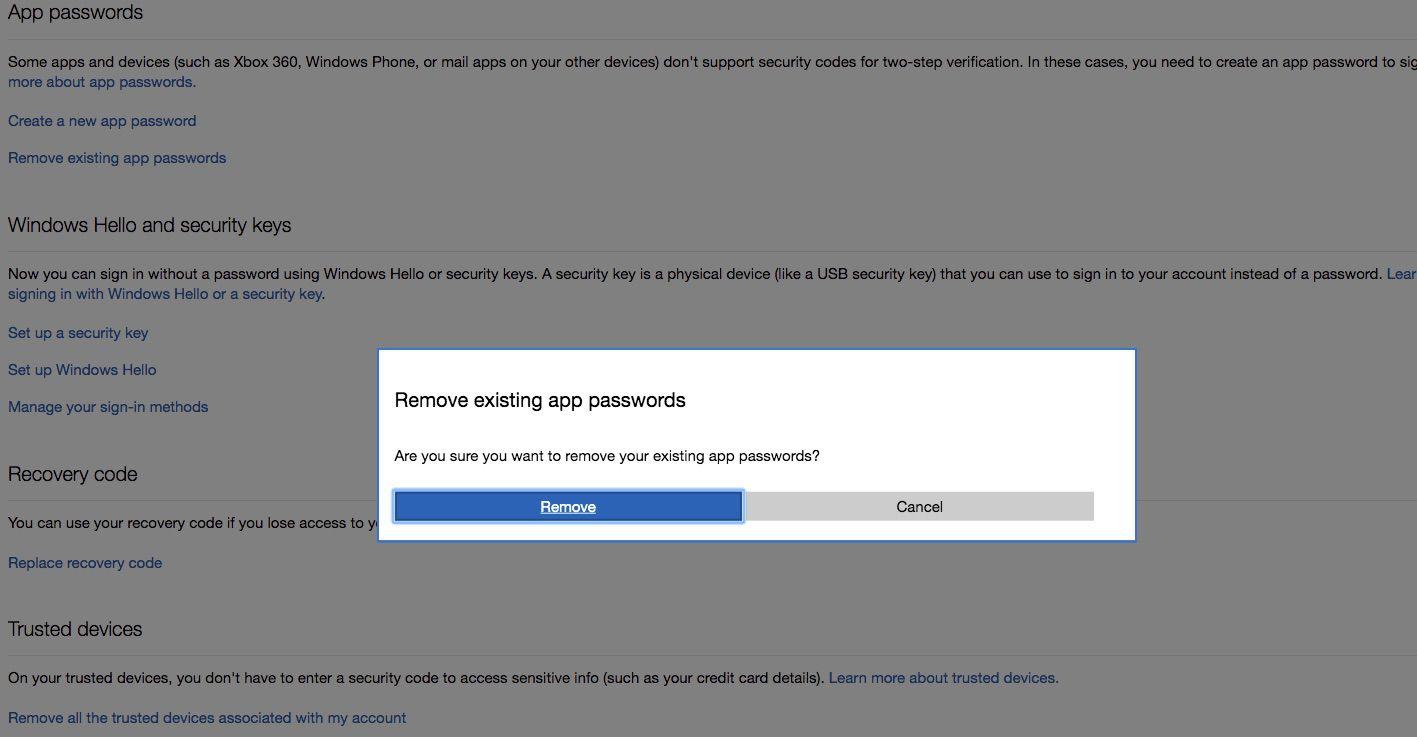 Screenshot of Remove Existing App Passwords box in Outlook.com