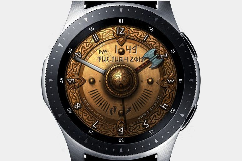 ACD Viking History watch face on a Samsung Galaxy watch