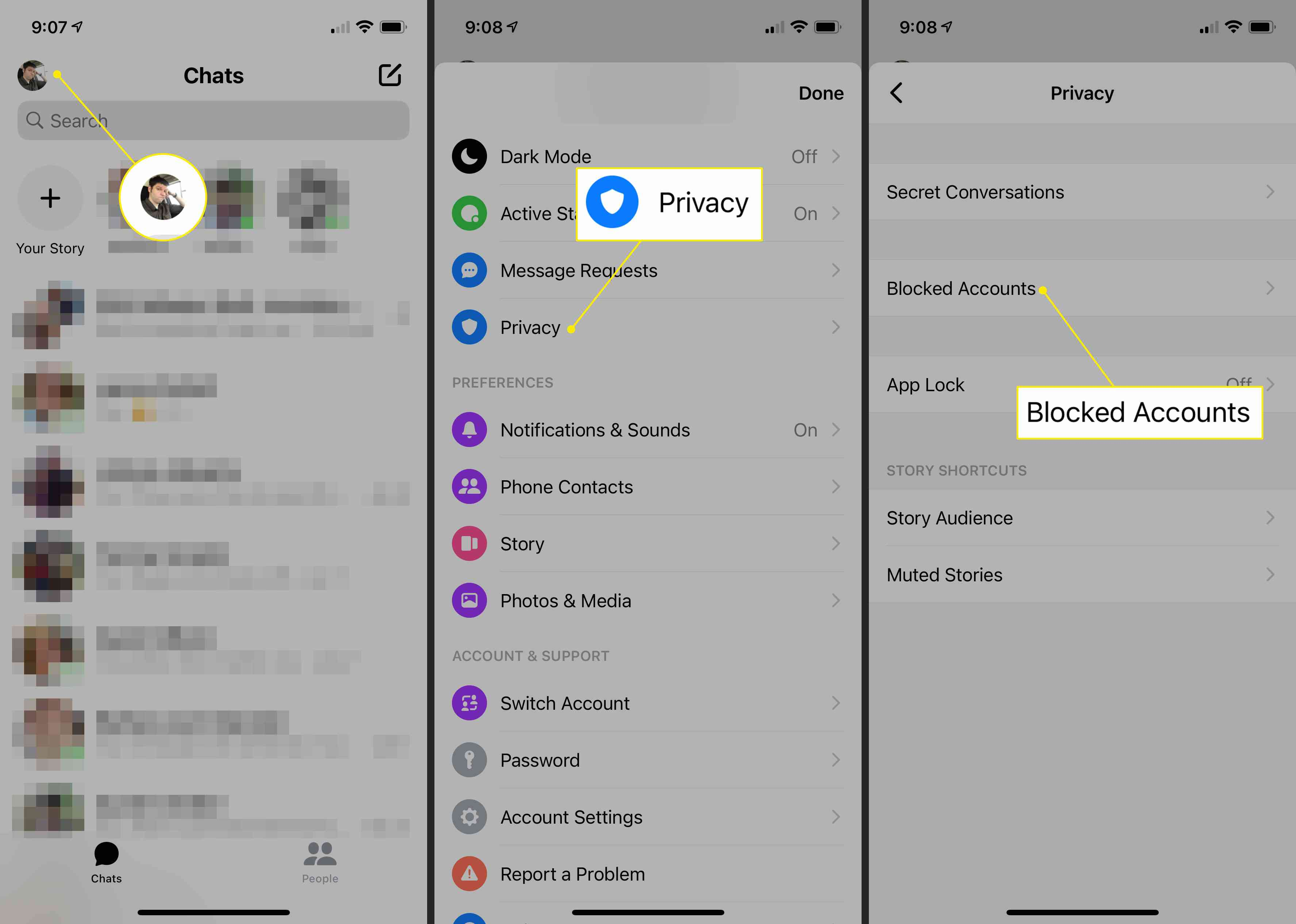 The Privacy and Blocked Accounts headings in Messenger settings