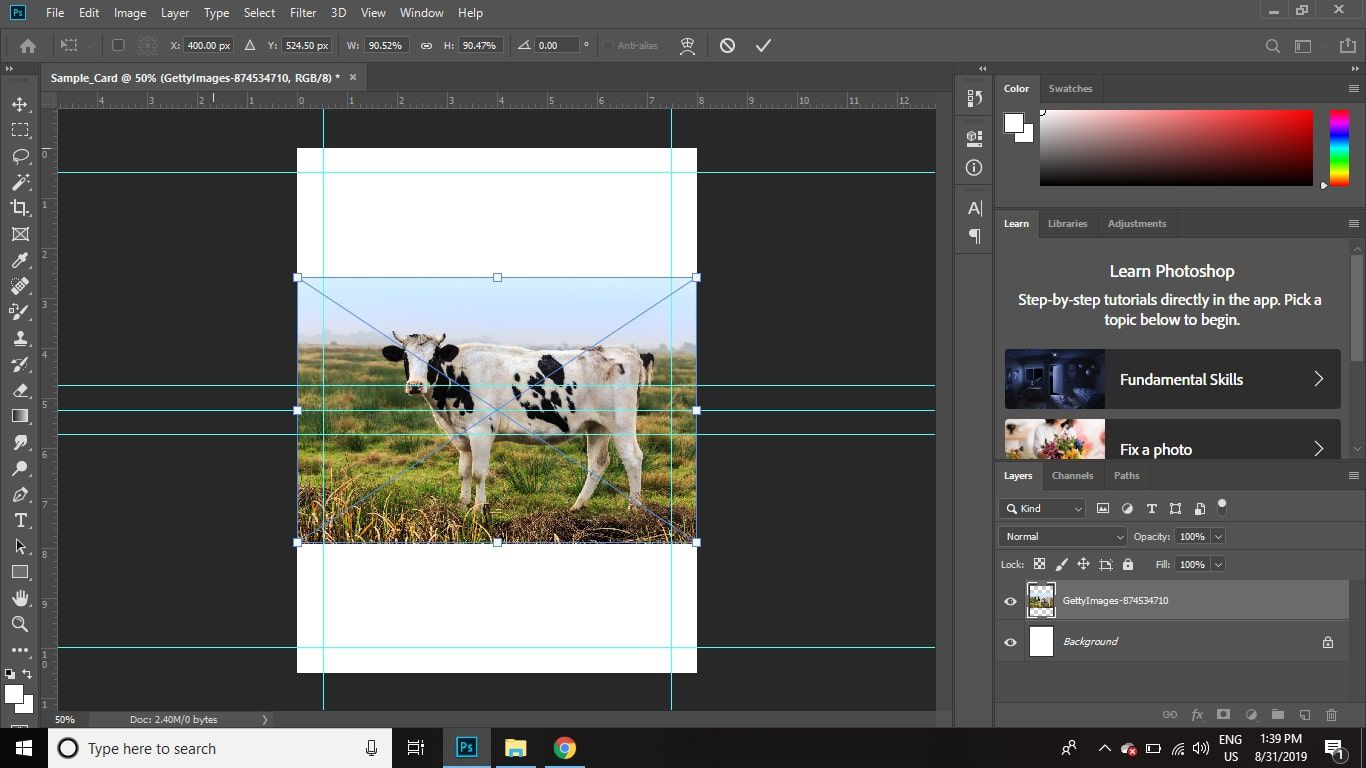 Use the drag handles to resize the image so that it fits within the margins you created in the lower half of the document.