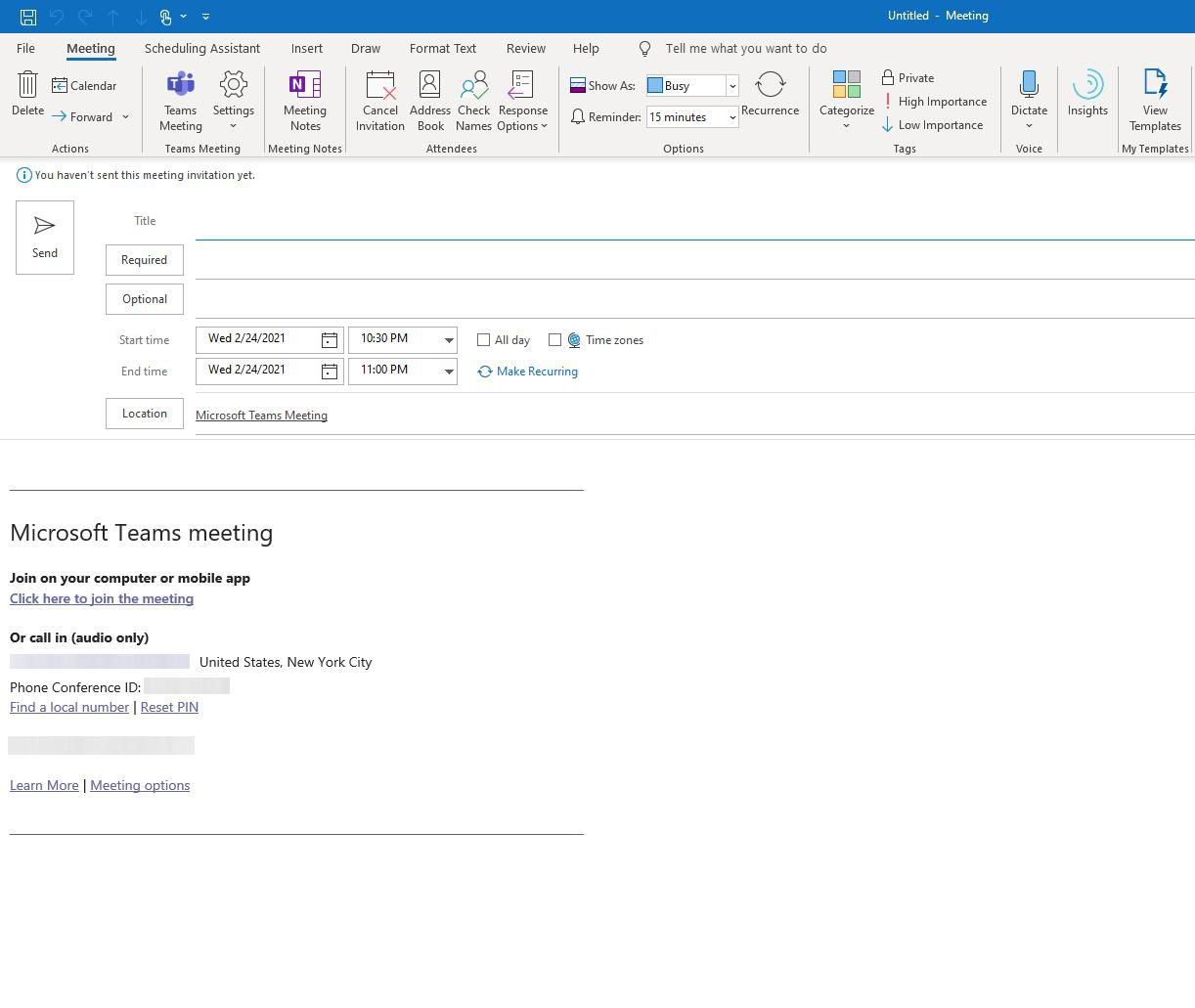 New Outlook Meeting with Teams Option Button