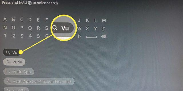 Fire Stick Search box highlighting Vu being typed to bring up Vudu