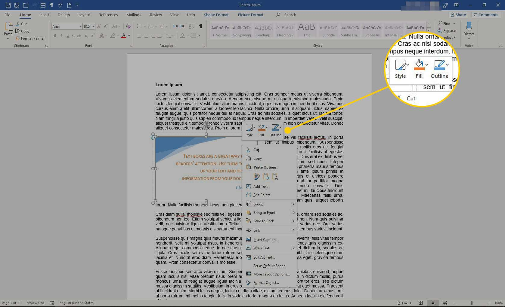Text Box in Word with the Shape Format tools highlighted