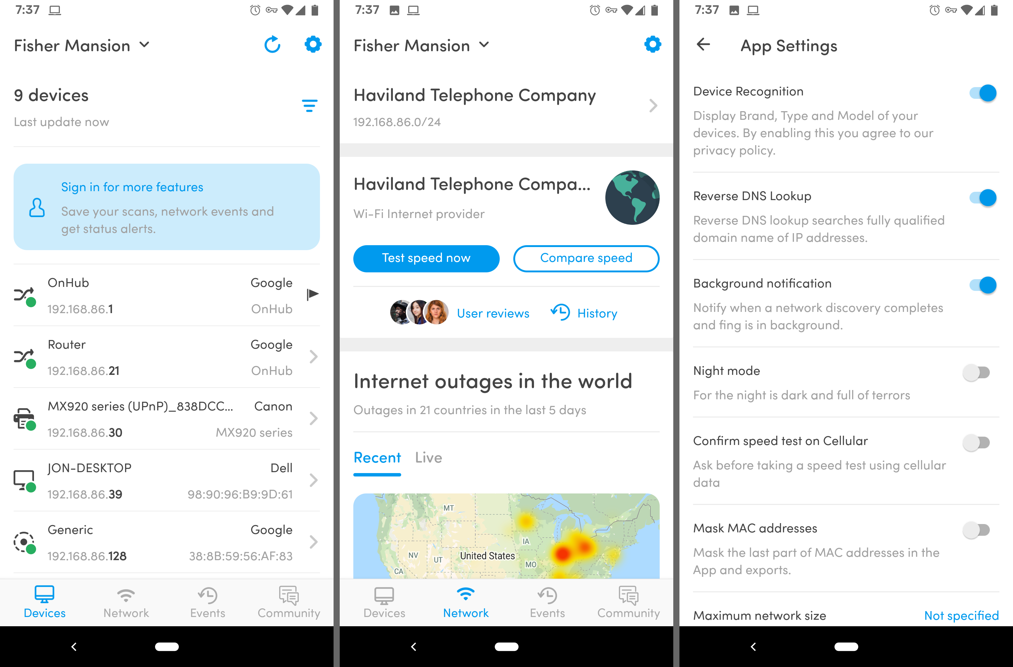 Fing free Wi-Fi app for Android