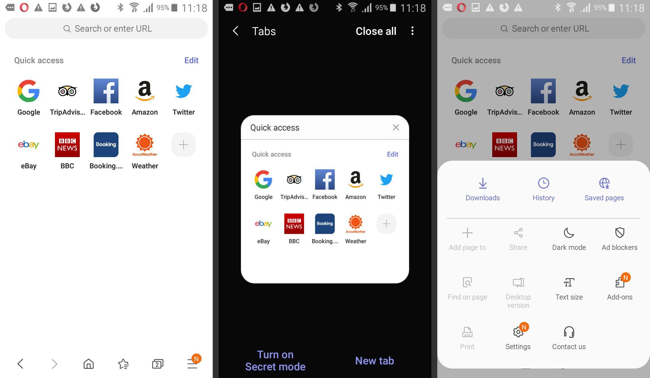 Samsung Internet Browser app screenshots