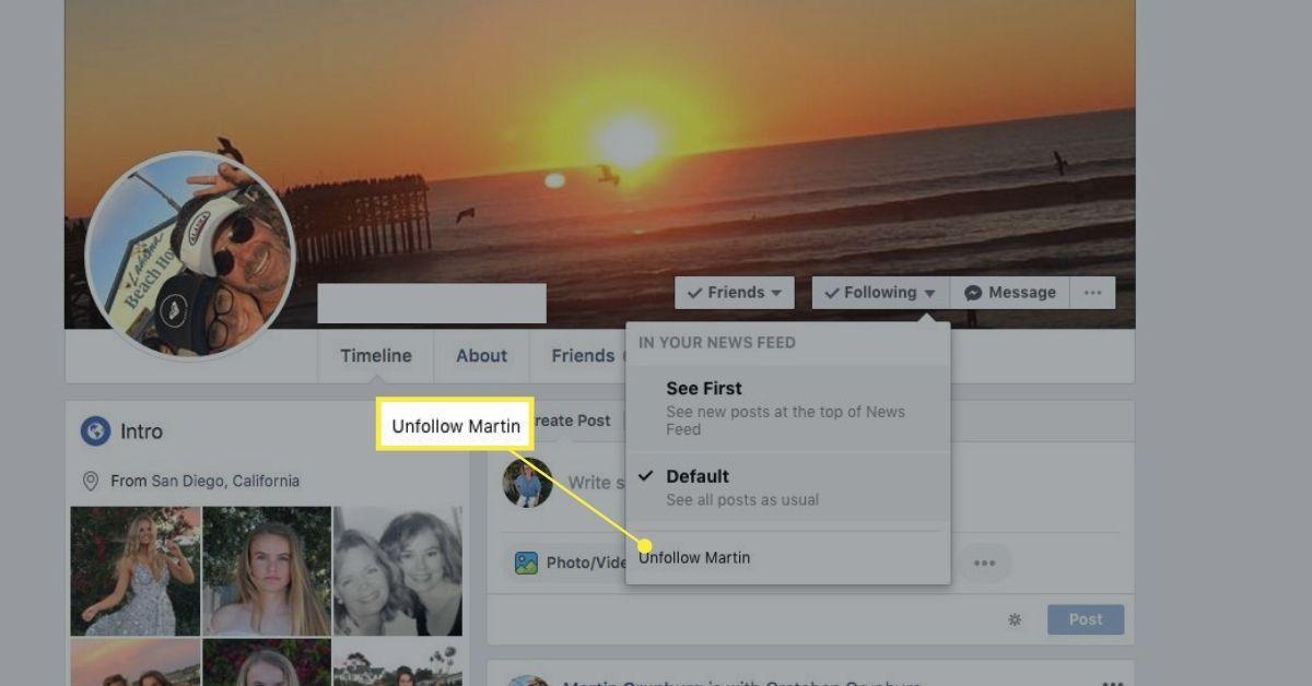 Unfollow option on Following menu in Facebook