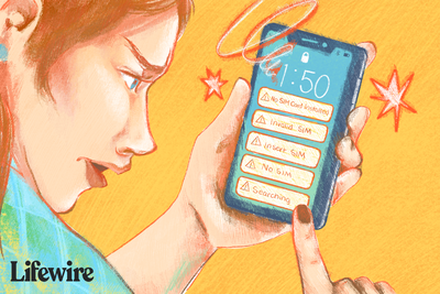 Illustration of a person looking at a mobile phone with No SIM Card messages on it