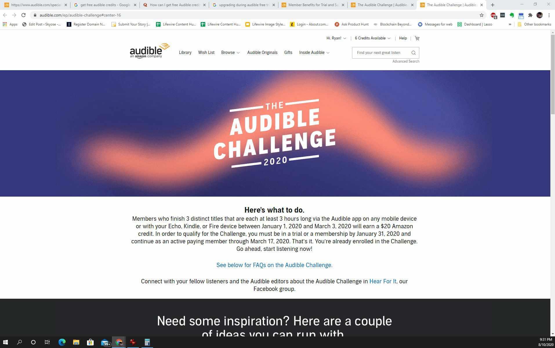 Screenshot of an Audible challenge
