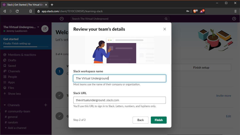 A screenshot of setting up a Slack team.