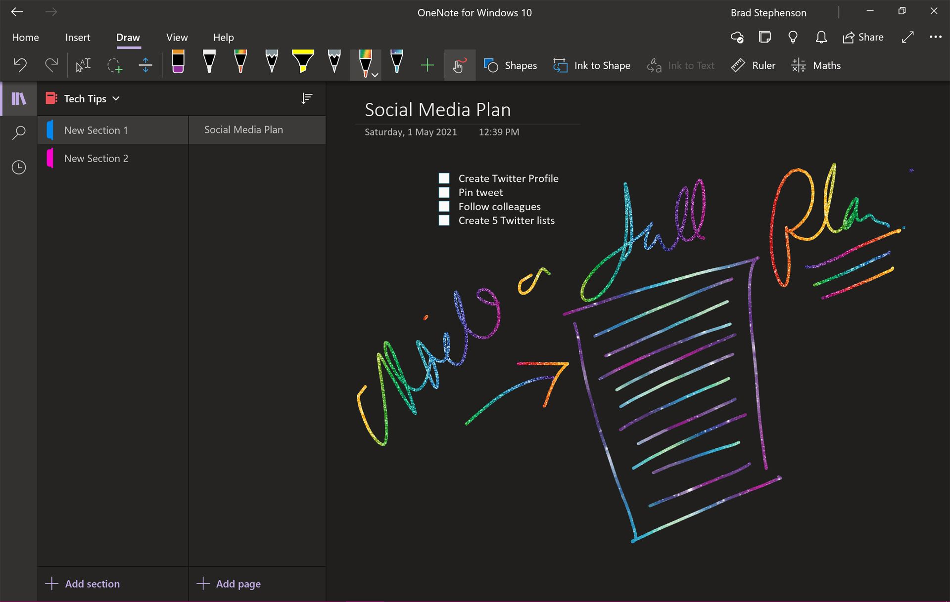 Microsoft OneNote on Surface Pro 7.
