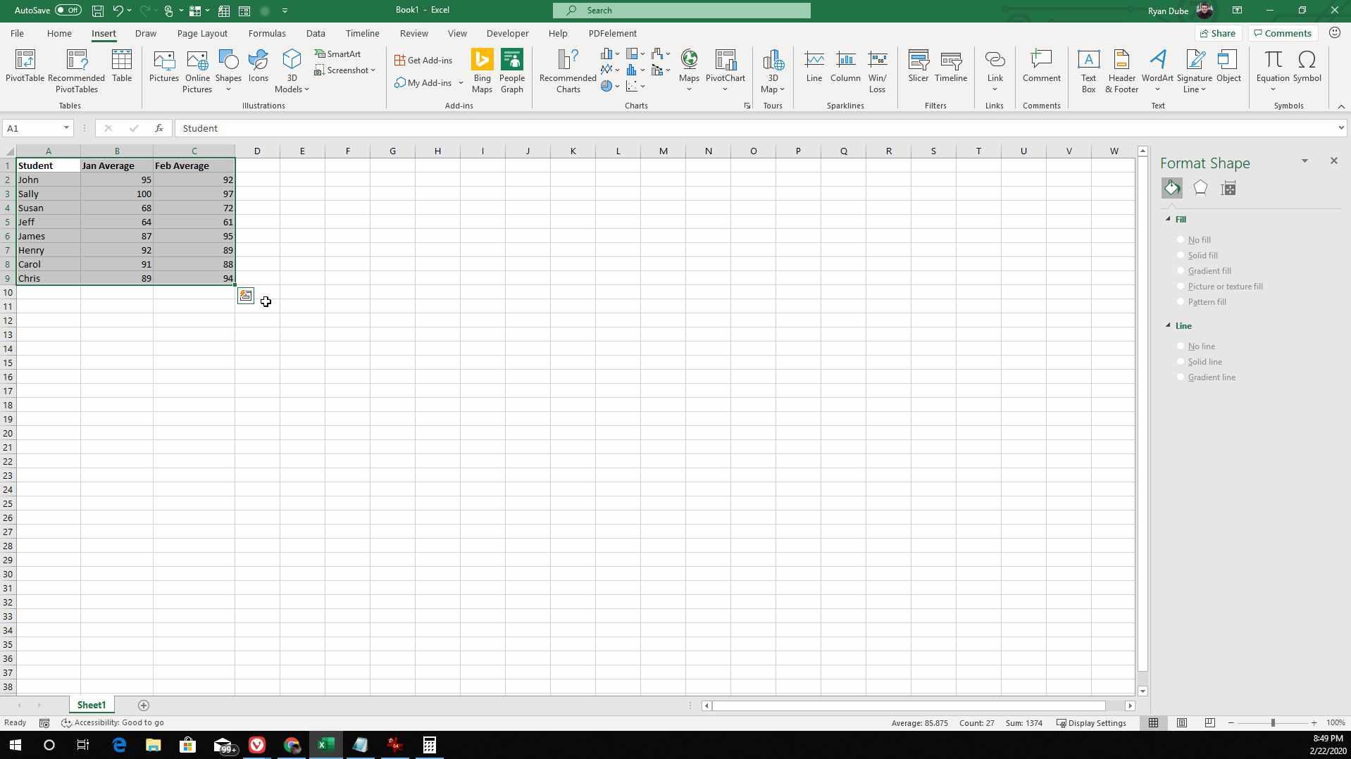 Screenshot of selecting spreadsheet data