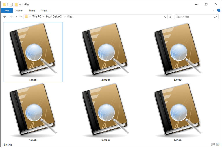 Screenshot of several MOBI files in Windows 10