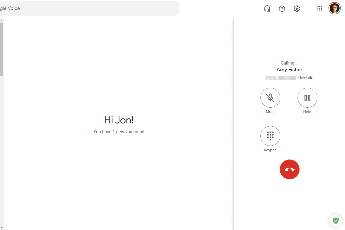 Google Voice active call from a web browser