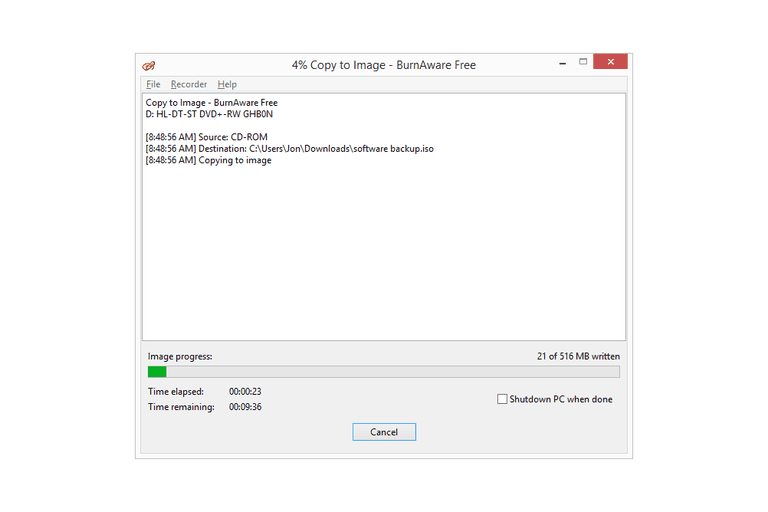 Screenshot showing BurnAware Free making an ISO image from a software program CD