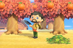 Animal Crossing character holding a shovel in front of trees