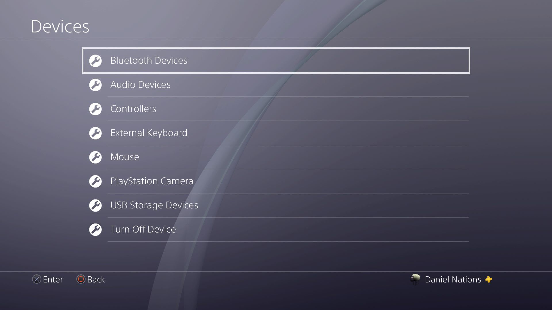 A screenshot of the device settings on the PS4