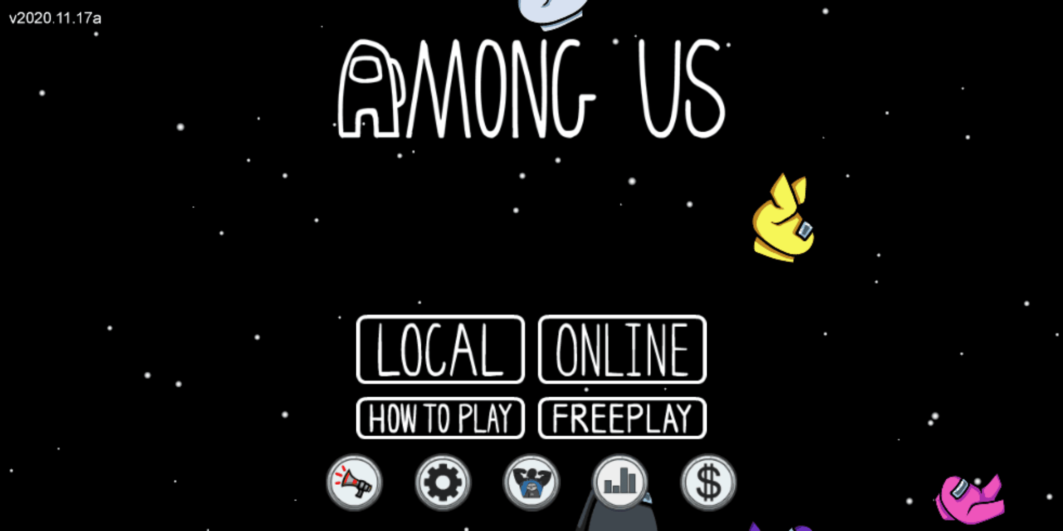 The Among Us title screen.
