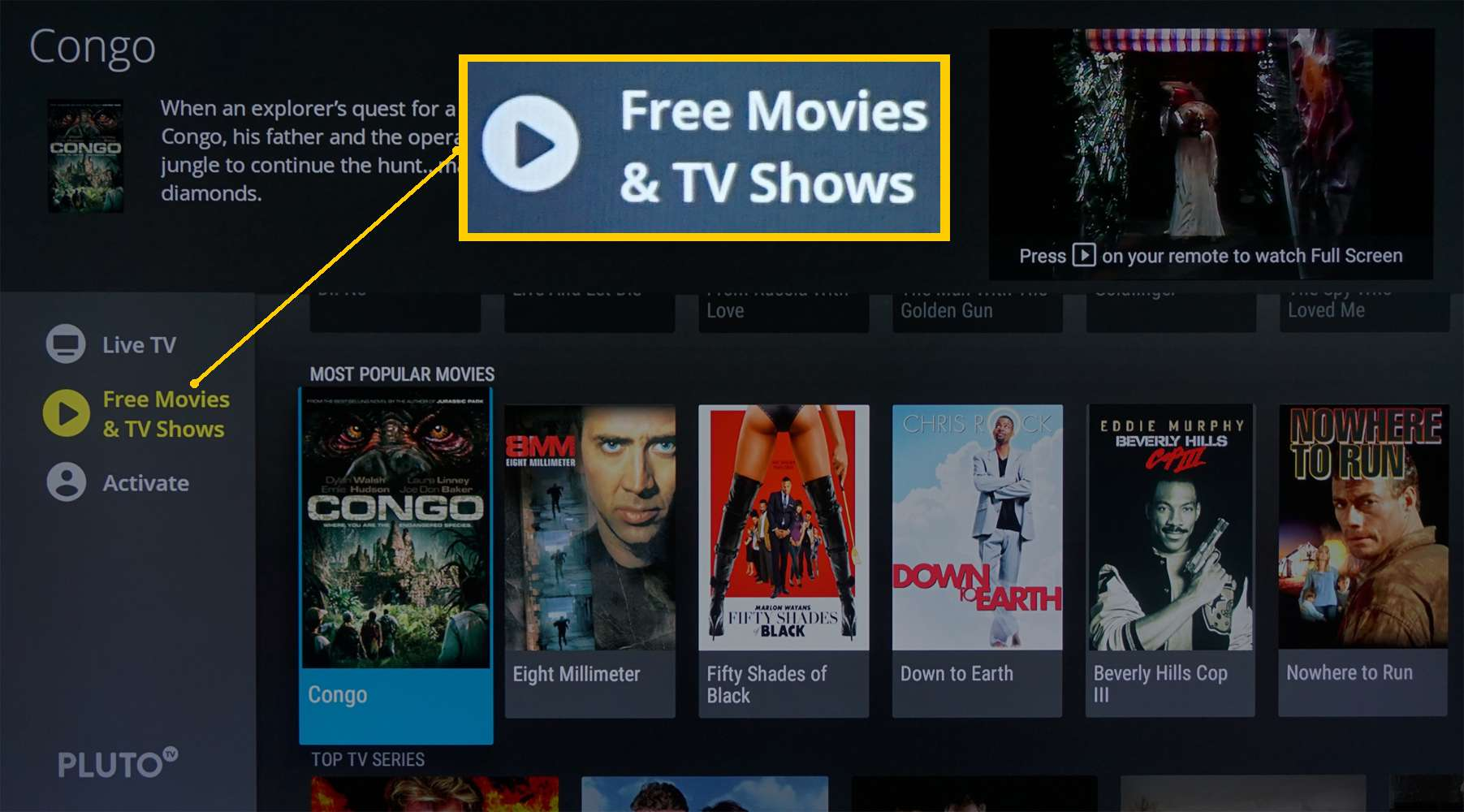 Pluto TV – Free Movies and TV Page