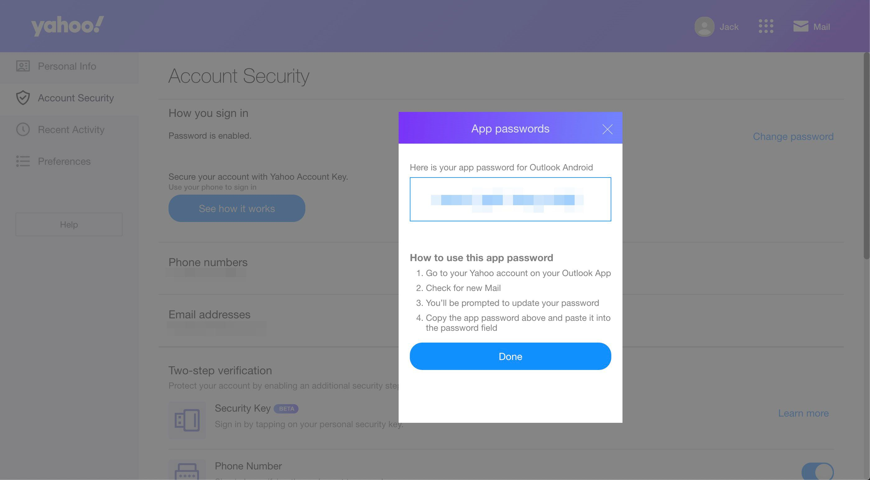 Instructions for an app password in Yahoo Mail