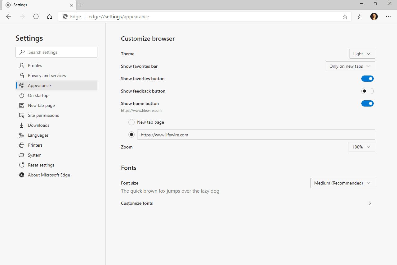 Edge home button URL setting