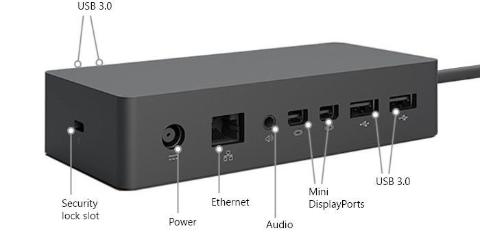 Surface Dock 1 schematic with two ports next to a headphone jack
