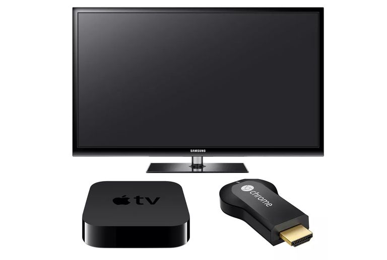 Flat-screen TV, Apple TV, and Chromecast devices