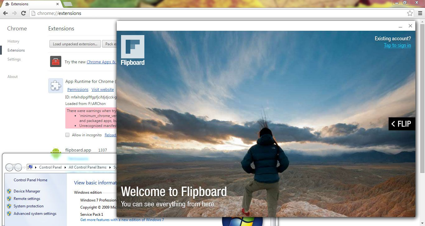 Flipboard running in Chrome with ARChon