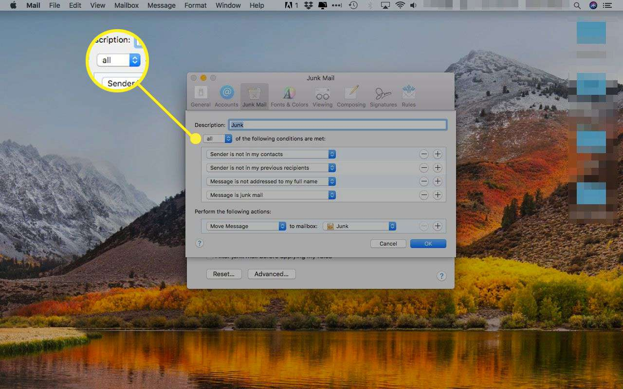 Junk Mail advanced settings in Apple Mail