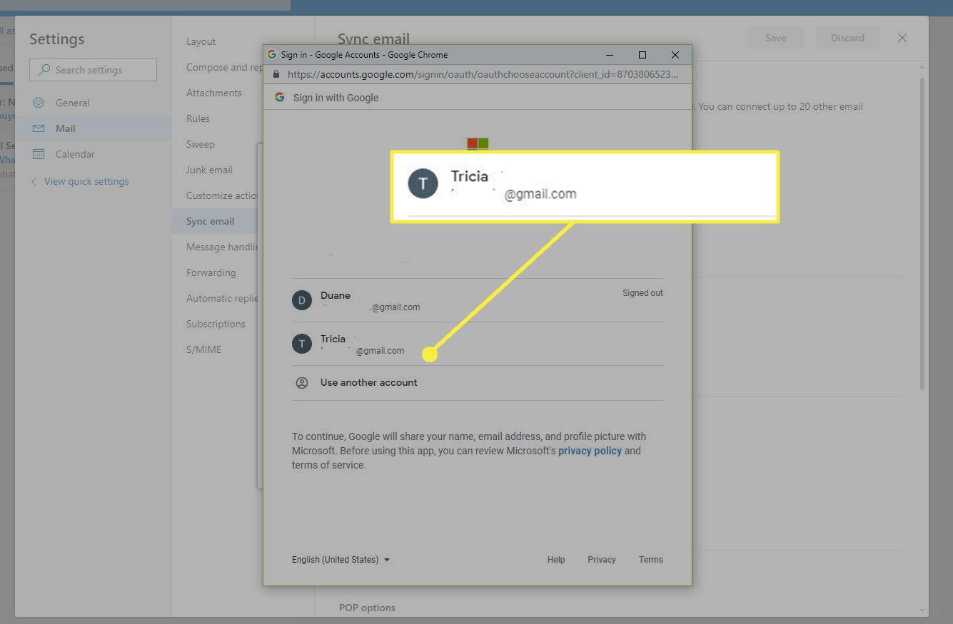 Sign in with Google Window with a Gmail account highlighted