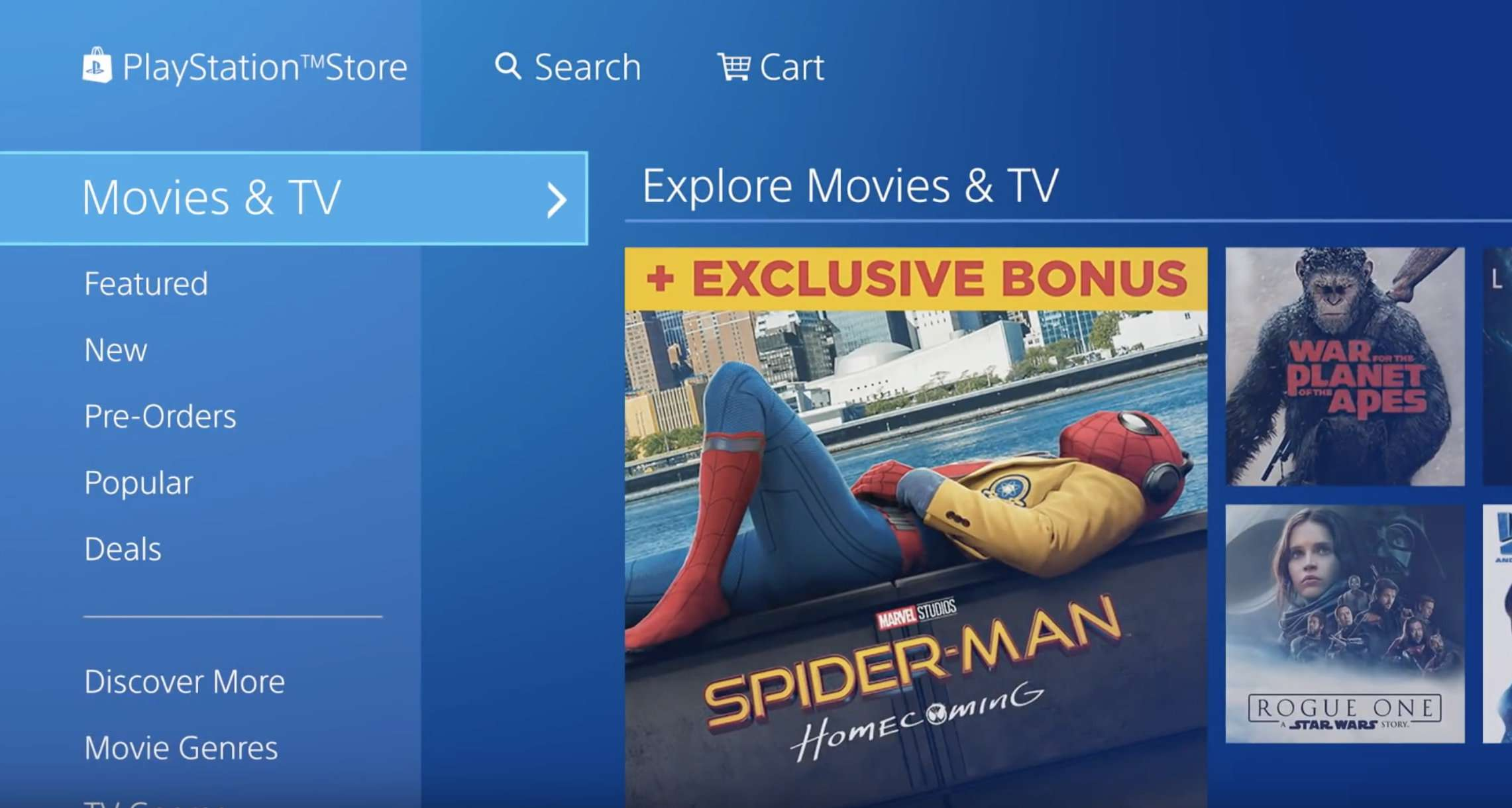 Sony Playstation Store and available movies to rent.