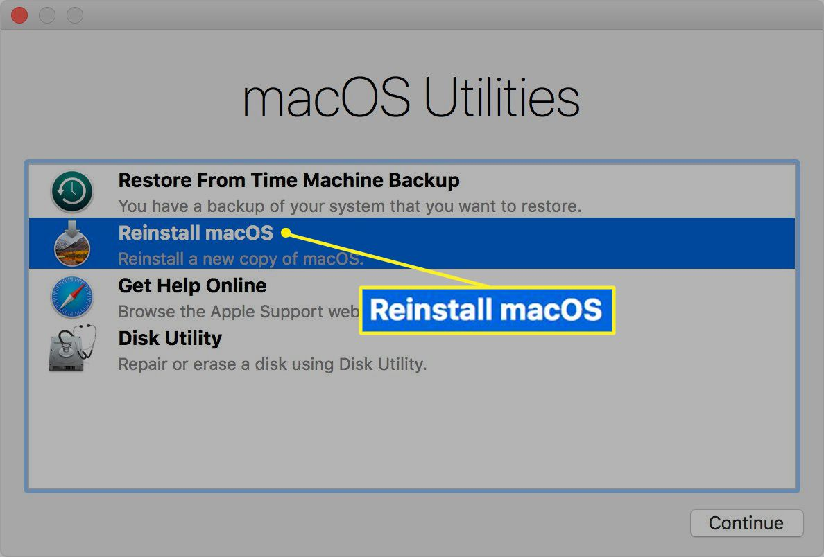 macOS Recovery Mode window