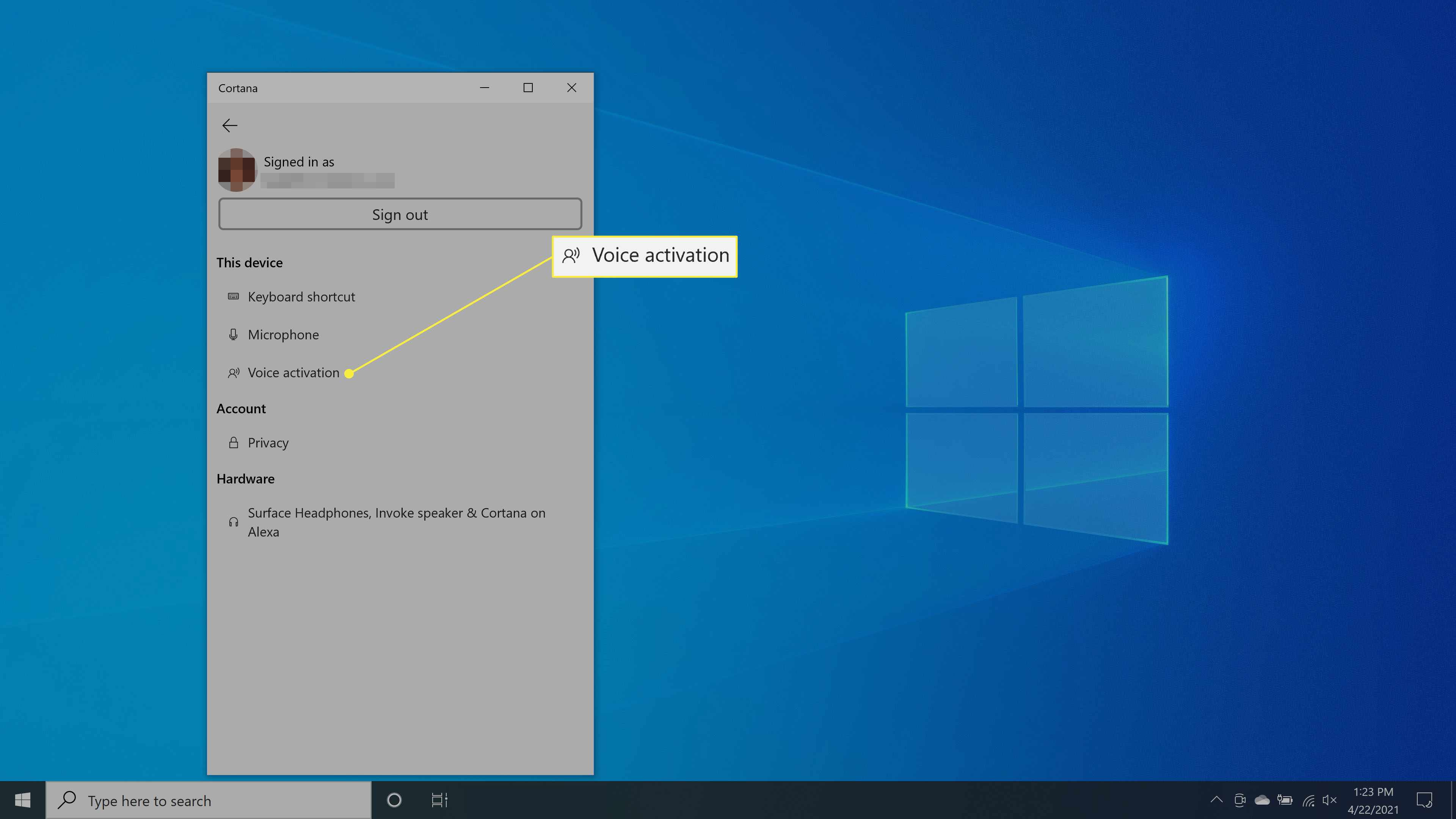 Selecting the Voice activation setting in Cortana.