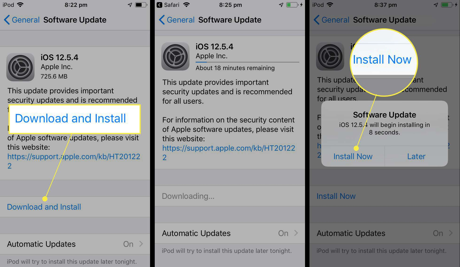 iOS 12.5.4 update being installed on iPod touch with